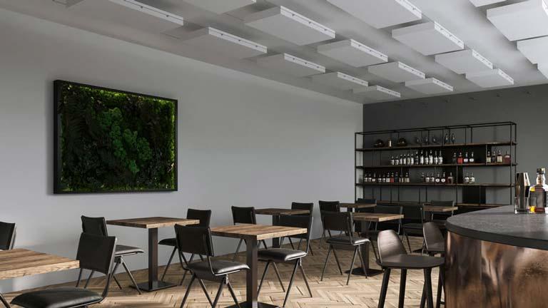 aixFOAM verlaagde plafonds voor geluidsisolatie