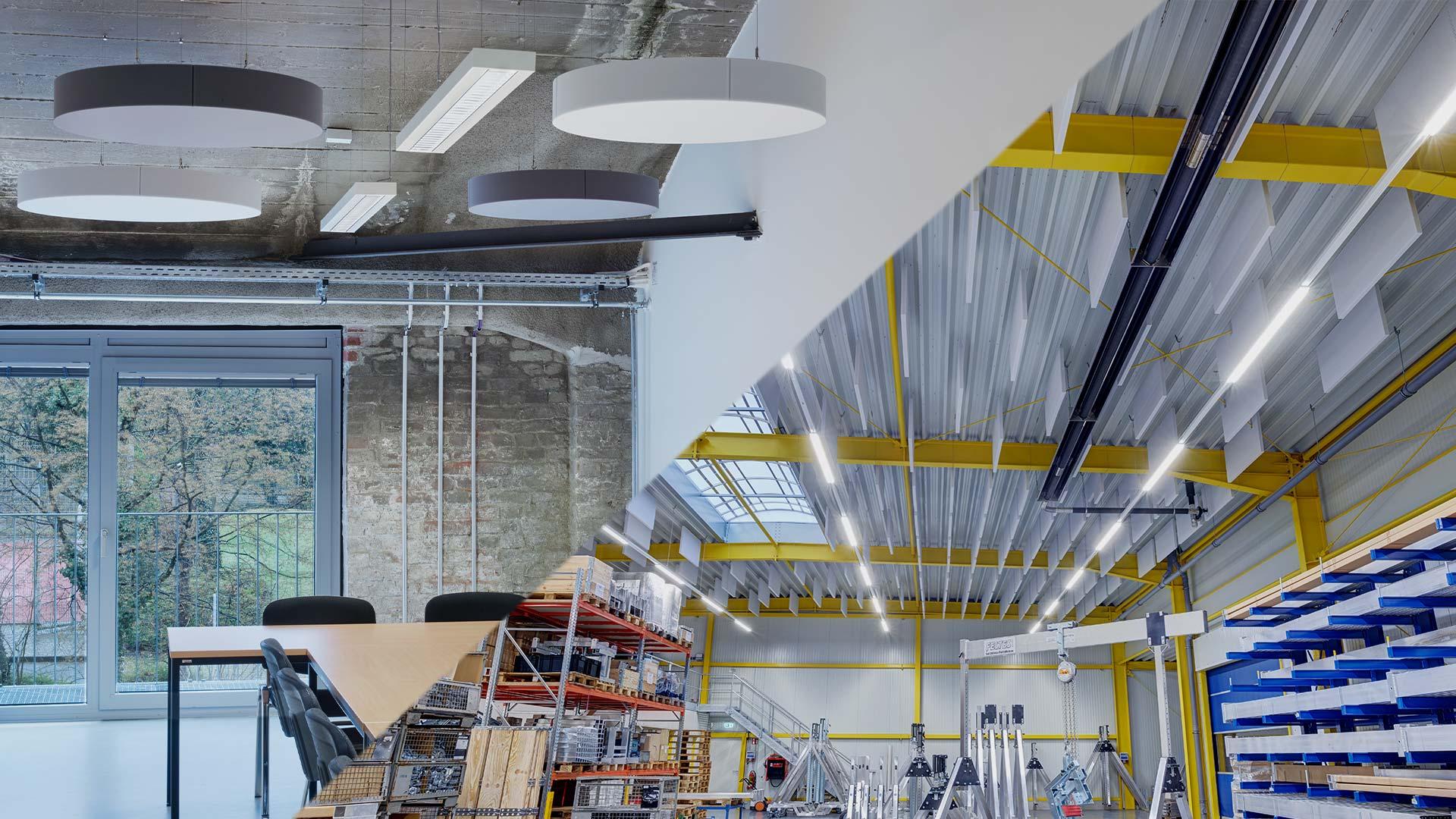 aixFOAM Premium geluidsabsorbers in kantoren en industriehallen